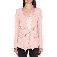 Yüksek sokak yeni moda 2020 tasarımcı Blazer kadın şal yaka kruvaze Metal düğmeler kemer Blazer ceket