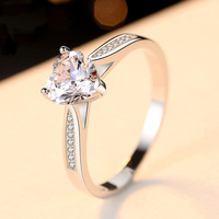 Engagement Ring Women 7mm Heart CZ Stone Anniversary Romantic Ring Gift Genuine 925 Sterling Silver Jewelry Prong Settings Ring