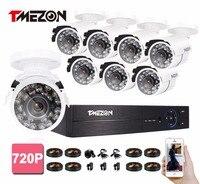 Tmezon 8CH DVR CCTV Security Surveillance System 8pcs 900TVL Outdoor IR Night Vision Bullet Waterproof Camera