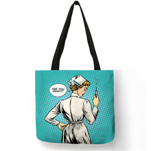 Unique Pattern Shoulder Bag Bolso Mujer Nurse Image Painting Eco Linen Practical Handbag for Daily Use Work Travel Ladies Girls
