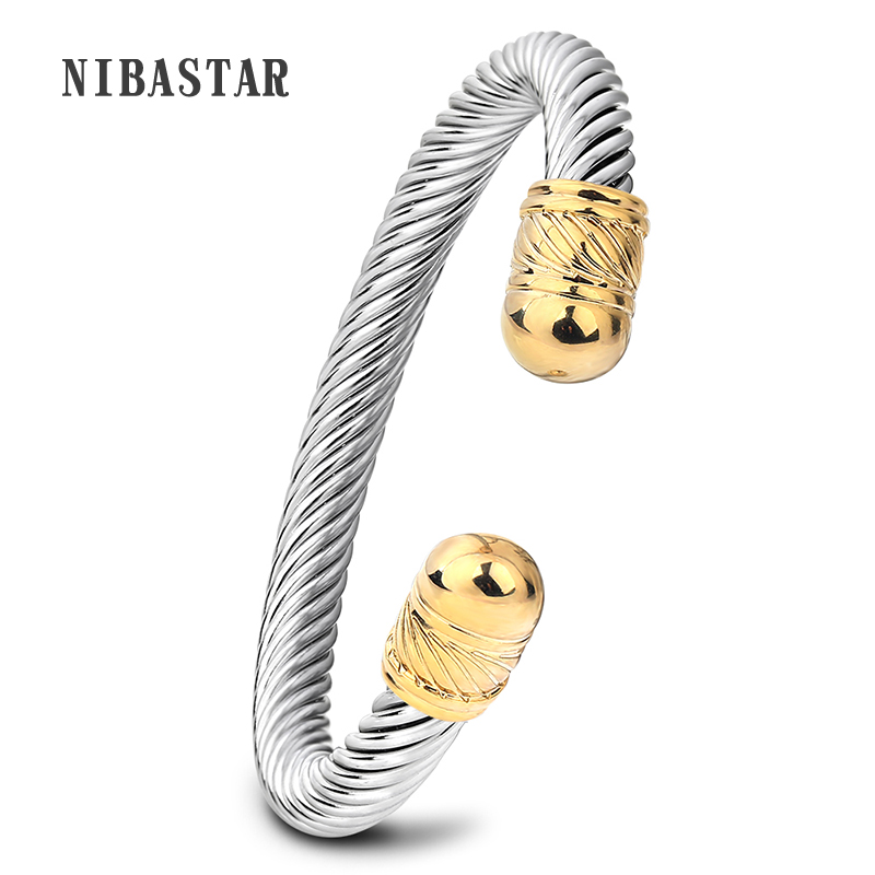 Gold/Silver Bangles Bracelets Opened Cuff Stainless Steel Bracelets Women Punk Round Bangles Bracelets anchor cuff bracelets
