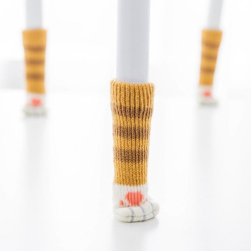 4pcs Knitting Cat Style Chair Leg Socks Home Furniture Leg Floor Protectors Non-slip Table Legs cover prevent cat scratching מסרק כינים
