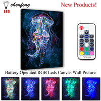 Led Canvas Printing colorful Jellyfish Wall Picture Remote control Illuminate painting light box print and poster decor gift