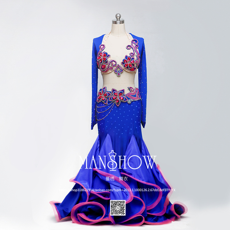 Senior Belly Dance Suit Luxury Diamond Tops And Mesh Fishtail Skirt 2pcs Sets For Women Dancing Stage Performance Costume