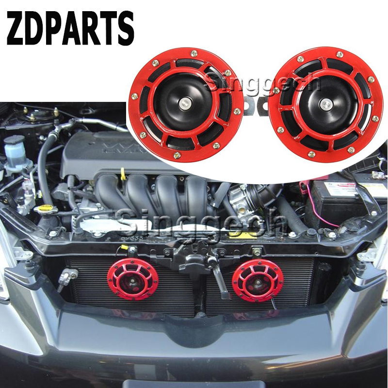 ZDPARTS 2PC For VW Passat B5 B6 B7 Golf 4 7 6 T5 T4 Polo Mazda 3 6 CX-5 CX-3 Jeep Car Stickers Red Electric Blast Tone Horn Kit