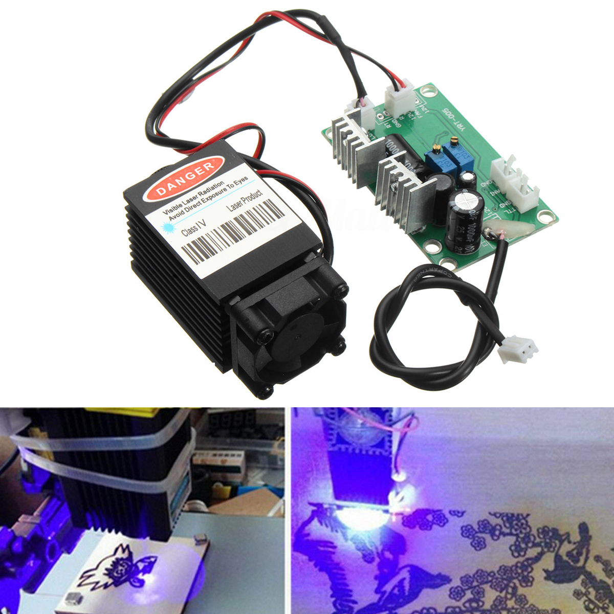 Focusable High Power Industrial Blue Laser Module 2.5W 450nm With TTL 12V Driver Board Wood Carving for CNC Machine industrial 650nm 150mw red laser module 650nm laser head with fan 12v ttl driver board