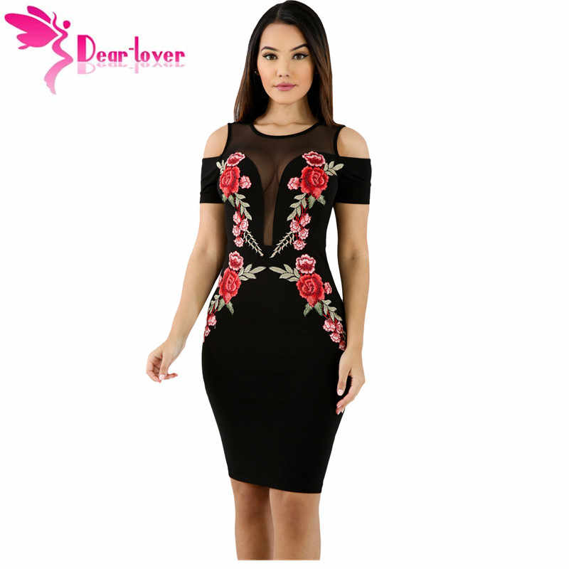 Dear Lover black dress women Mesh Combine Embroidered Rose Cold Shoulder Bodycon  Dress with Zipper vestidos 69c1d5cb17d2