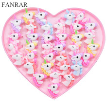FANRAR 20PCS/Lot Kids Rings Lovely Animal Unicorn Horse Open Ring For Children Girls Adjustable Acrylic Jewelry Party gift(China)