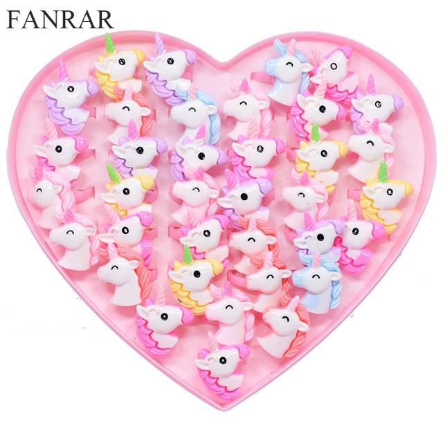FANRAR 20PCS/Lot Kids Rings Lovely Animal Unicorn Horse Open Ring For Children Girls Adjustable Acrylic Jewelry Party gift