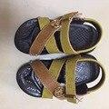 Клиренс специальная 2017 бренда дети сандалии резиновые ботинки мальчик ПУ крюк мальчик пляжные сандалии дети коричневые кожаные сандалии бесплатная доставка