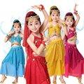 Crianças Roupas de Dança Do Ventre Crianças Dança Indiana Vestido Extravagante Traje de Lantejoulas Meninas Trajes de Dança de Bollywood