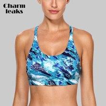 Charmleaks Women Sports Bra Light Impact Floral Print Backcross Yoga Push Up Running Workout Underwear Fitness Sport Top