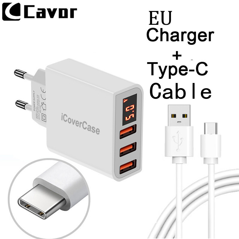 EU Universal 3 Ports USB Adapter for <font><b>Samsung</b></font> <font><b>Galaxy</b></font> A3 A5 2017 A7 <font><b>A8</b></font> Star A9 Case Mobile Phone <font><b>Charger</b></font> Travel Plug Type C Cable image