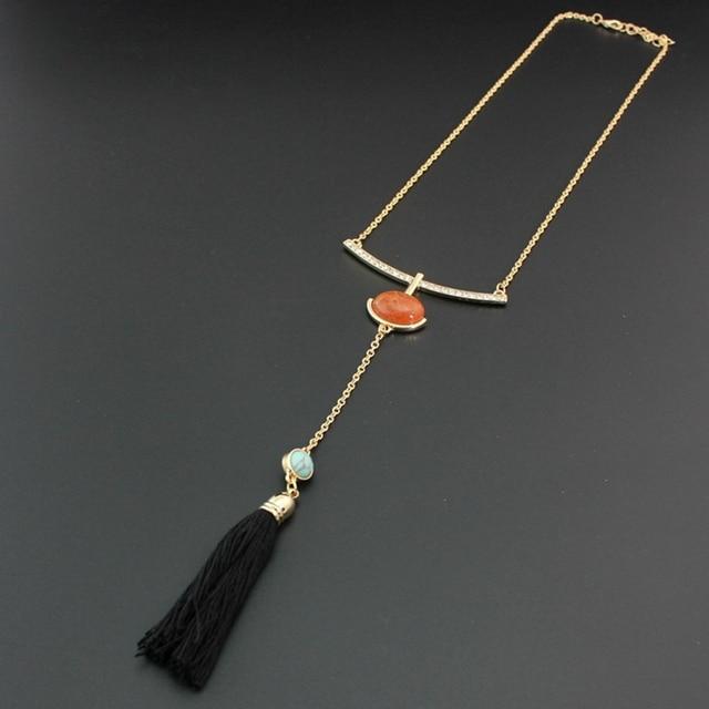 Фото chicvie черные ожерелья с кисточками и подвески золотого цвета