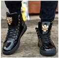 2017 New Fashion High Top Casual Shoes For Men PU Leather Lace Up Red White Black Color Mens Casual Shoes Men High Top Shoes