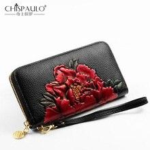 Пояса из натуральной кожи для женщин кошелек Стандартный Винтаж длинный держатель для карт Пион цветок Мода сцепления китайский стиль
