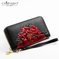 Genuine Leather Women Wallet Standard Wallet Vintage Long Purse Card Holder peony flower Fashion Clutch Chinese Style Women Bag