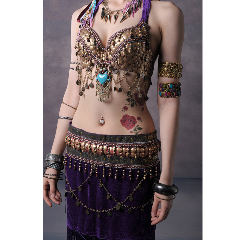 3-color tribal style Belly dance dress 2 Picture bra and skirt 34b / c 36b / c 38b / c Xl / bra bra cup group 10 cup pull 3 in c c polished nickel