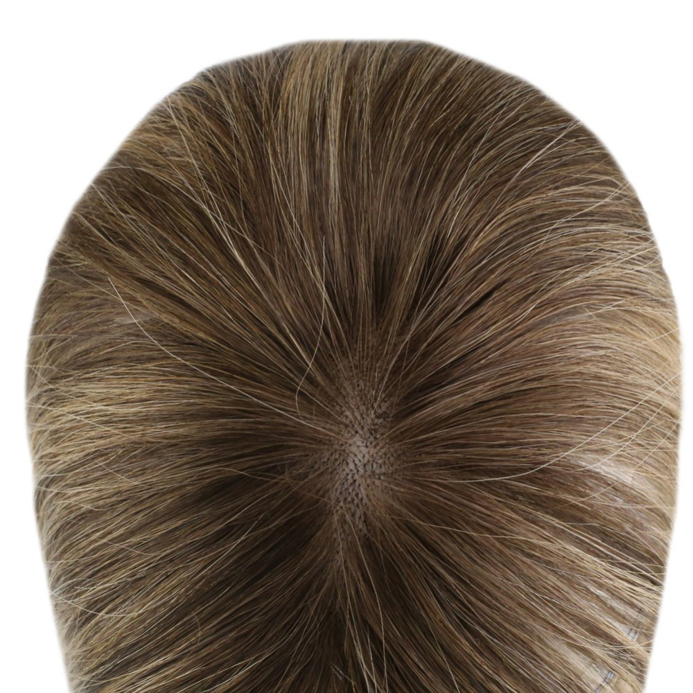 Mono Toupee Hair-Piece Topper Thinning-Hair Remy Women Crown with Clip for Machine-Made