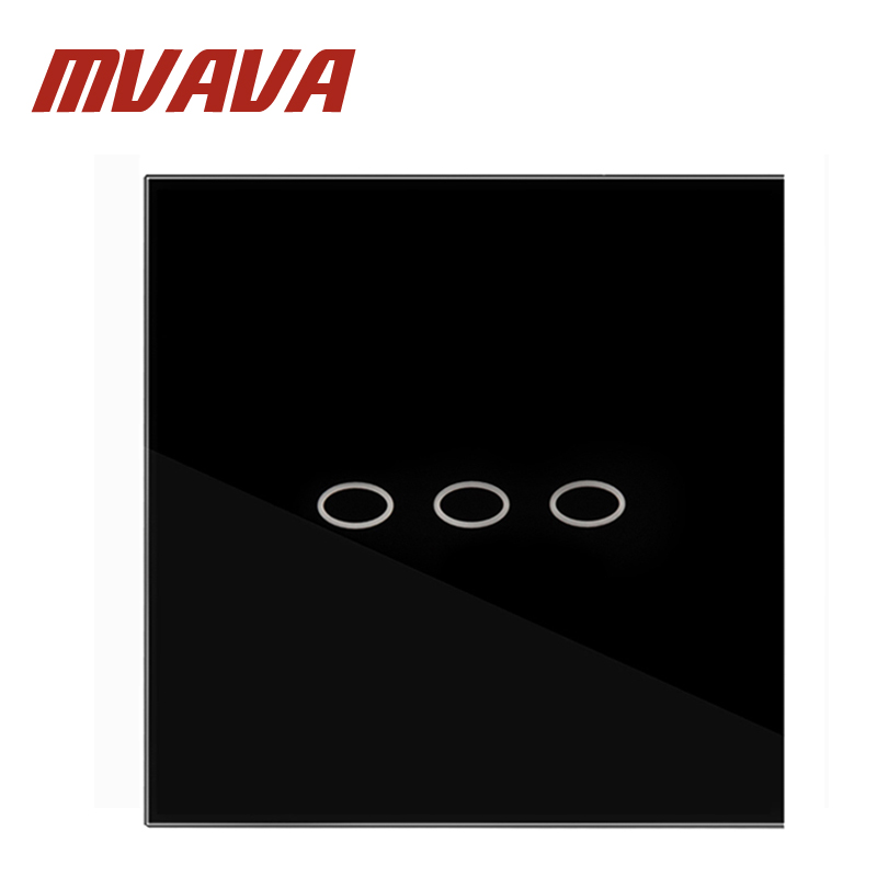 MVAVA Wall Switch 3 Gang 1 Way 110~250V Smart Home Crystal Glass Panel UK Touch Screen Control Wall Light Digital Touch Switch 2017 smart home wall switch white crystal glass panel light touch switch 1 gang 1 way ac 110 250v 1000w for light
