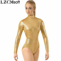 LZCMsoft Adult Shiny Metallic Mock Neck Leotard Women Black Long Sleeve Gymnastics Performance Ballet Dance Leotards