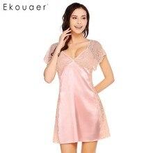 Ekouaer элегантный Dentelle Ночная рубашка женские пикантные Лоскутные Спагетти ремень ночное летние свободные v-образным вырезом ночные рубашки домашняя одежда