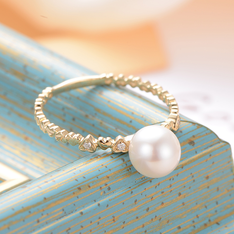 gNpearl  Crown White Natural Sea Pearl Ring  18K Gold  Wedding Ring 6.5-7mm Trendy  Natural pear Jewelry For Women GiftgNpearl  Crown White Natural Sea Pearl Ring  18K Gold  Wedding Ring 6.5-7mm Trendy  Natural pear Jewelry For Women Gift