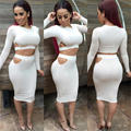 Women Two Piece Outfits 2016 Sexy Black 2 Piece Set autumn Bandage top+skirt set Backless NightClub Bodycon Party clothing set