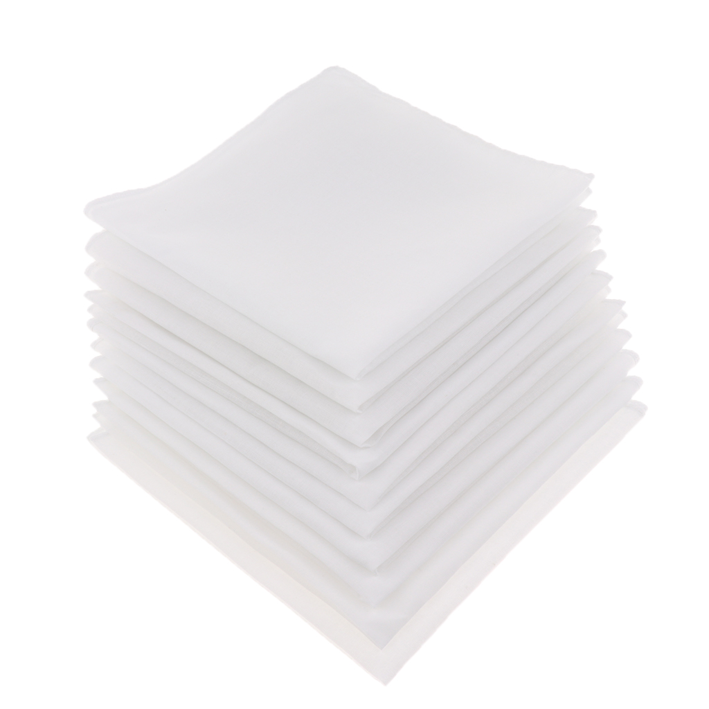 10pcs Mens Pure Solid White Handkerchiefs 100% Cotton Square Super Soft Washable Hanky DIY Accessories