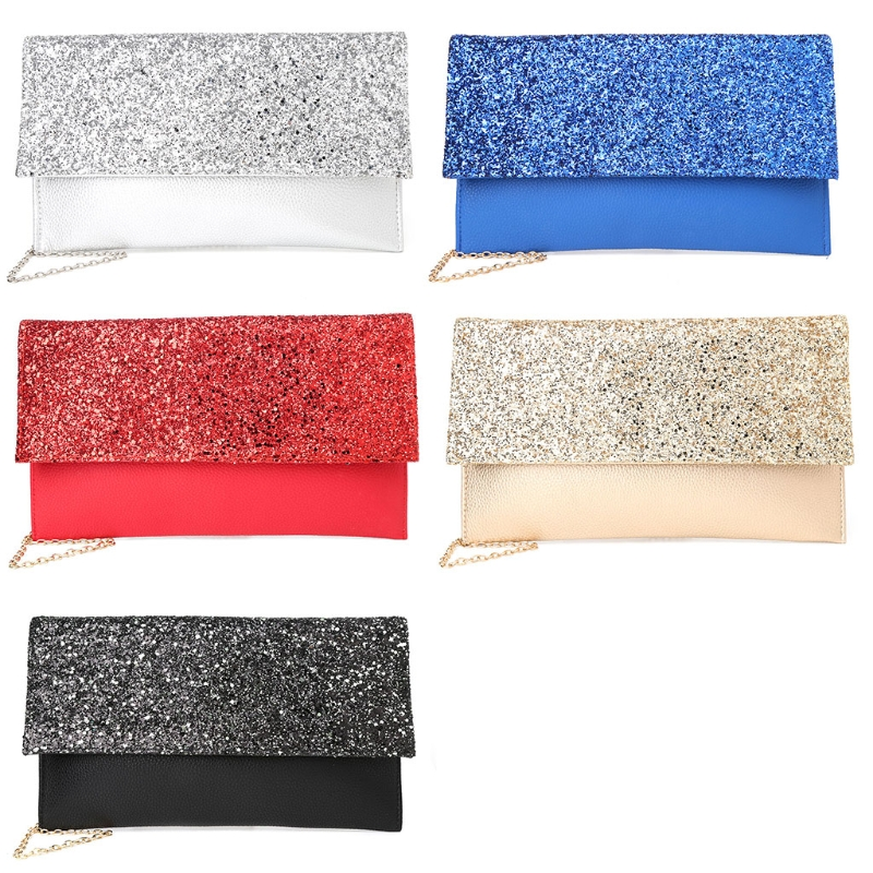1PC Fashion Women Evening Clutch Shoulder Bag Glitter Sequins Luxury Handbag Faux leather Party Wallet Purse Bags for Women 2018 fashion women lady faux leather handbag clutch envelope evening bag wallet purse party retro sexy elegant long solid wallet