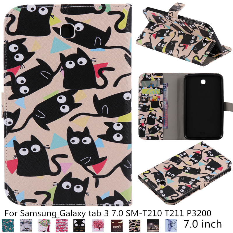 High quality Child kid cartoon Smart Magnetic case For <font><b>Samsung</b></font> <font><b>Galaxy</b></font> <font><b>tab</b></font> <font><b>3</b></font> 7.0 SM-T210 <font><b>T211</b></font> P3200 folio fundas tablet cover cas image