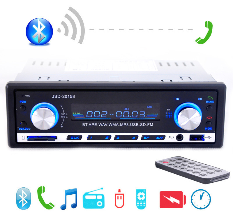 2019 New 12V Car Stereo FM Radio MP3 Audio Player Support Bluetooth Phone with USB/SD MMC Port Car Electronics In-Dash 1 DIN
