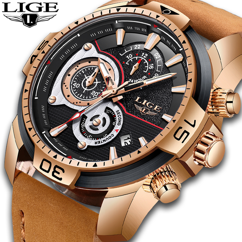 LIGE New Mens Watches Top Brand Luxury Men Casual Fashion Chronograph Men's Sports Waterproof Quartz Watch Relogio Masculino+Box 2017 jedir mens watches top brand luxury quartz watch men s fashion sports watches gift box free ship