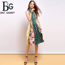 Baogarret New 2019 Summer Fashion Vintage Dress Womens Sleeveless Draped Floral Printed Elegant Ladies Vacation  Dresses