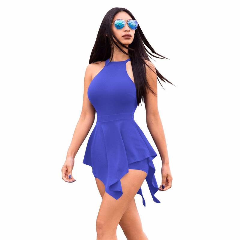 New Fashion Sexy Tight-fitting Pants Women 2018 Elegant Casual Solid Color Backless Playsuits Ruffled Decorative Ladies Jumpsuit