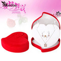Heart Shaped Plastic Containers Wedding Engagement Anniversary Ring Pendent Red Box Women Jewellery Holder Display Case U love