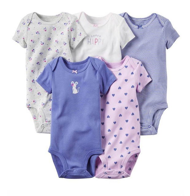 5pcs/lot Spring Autumn short Sleeve 5piece of set Original bebes Baby Girl clothes set Newborn Bodysuit kids Clothing