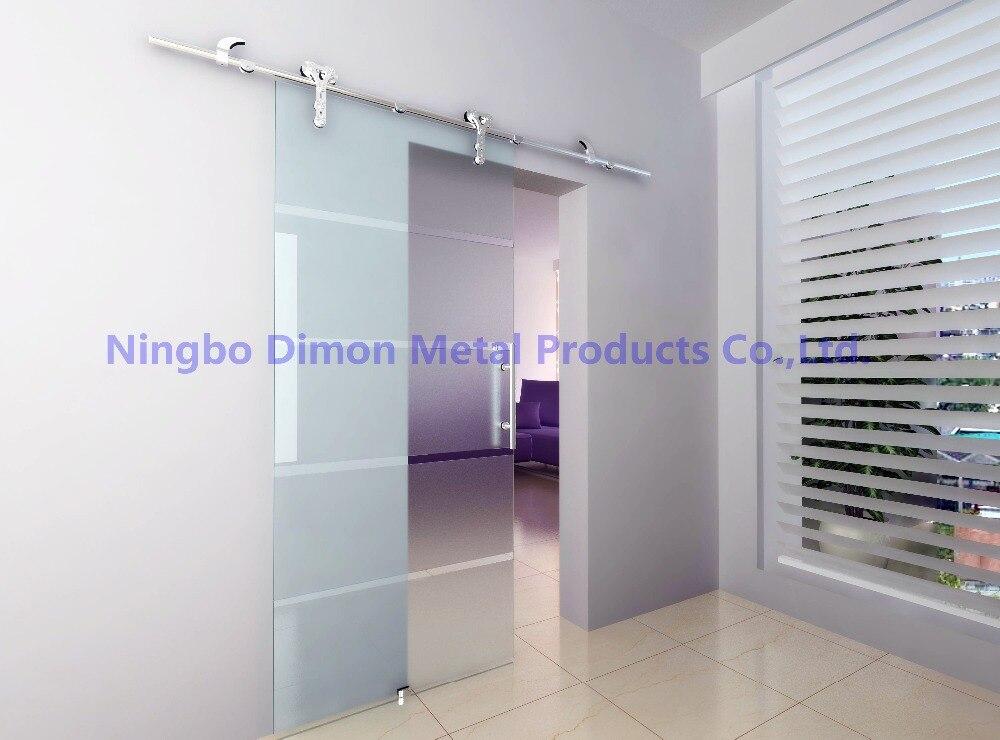 Livraison gratuite Dimon vente chaude style américain en acier inoxydable 304 satin verre porte coulissante grange matériel DM-SDG 7008 sans barre - 5
