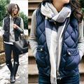 2016 New Designer Women Hooded Vest Cotton Winter Open Stictch Outwear Coat Solid Color Coats Jackets Women Vests For Party