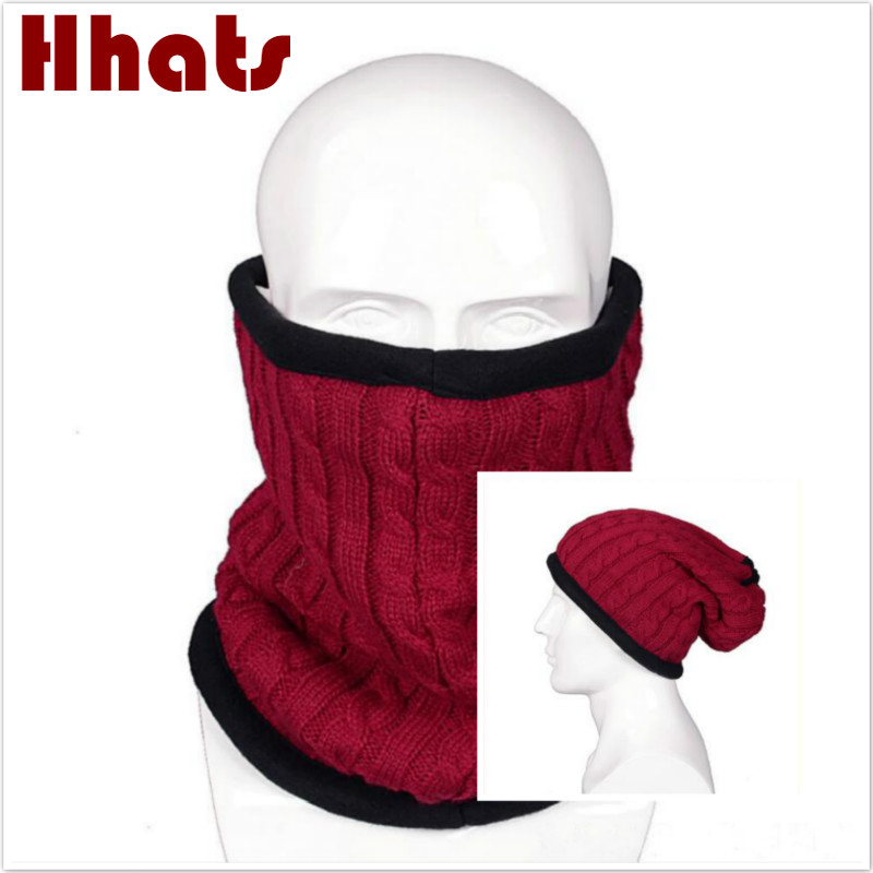 casual thick warm fleece lining   skullies     beanie   women or men winter hat scarf two use male solid knitted cap Bib for riding