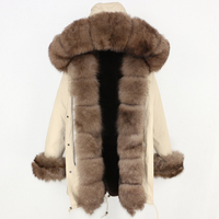 OFTBUY Winter Jacket Women Real Fur Coat Brand Luxury Long Parka Big Natural Fox Fur Streetwear Thick Warm 3 In 1 Plus Size