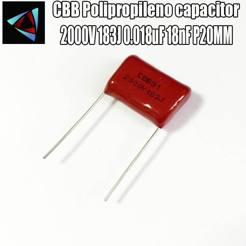 4PCS 2000V 183J 2KV 0.018uF 18nF P20MM Polypropylene Film Capacitor Pitch 20mm