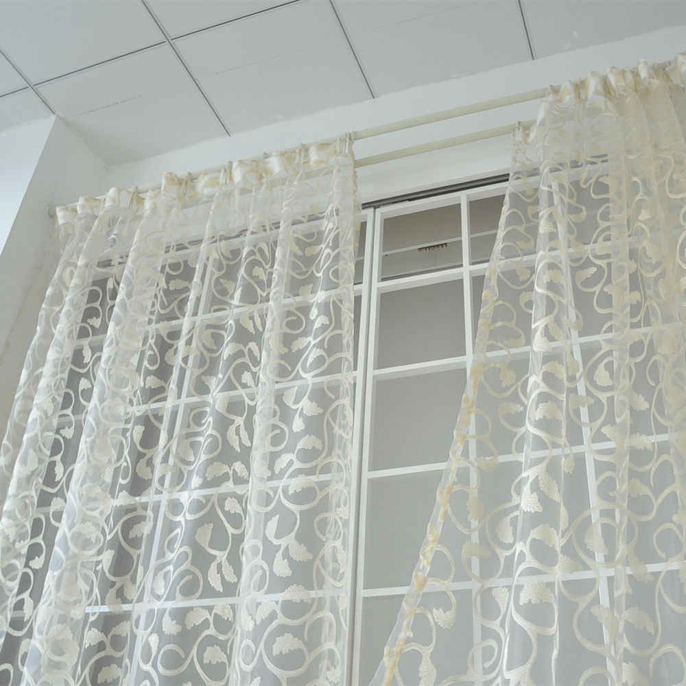 NAPEARL 1 PC สไตล์อเมริกัน jacquard ลายดอกไม้ผ้าม่านหน้าต่าง SHEER สำหรับห้องนอน Tulle ผ้าห้องนั่งเล่น Ready Made