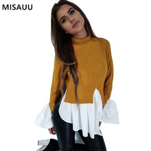 MISAUU Black White Long Sleeve Casual t shirts Women Tees Autumn High Neck Slim Sexy Tops 2018 New Arrival Patchwork t-shirts