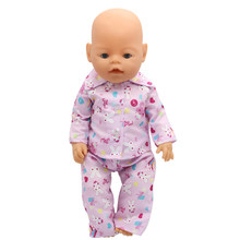 Baby Doll Clothes Pajamas Cartoon Shirt Pants Suit Fit 43cm Baby Doll Accessories Christmas Gift X-169(China)