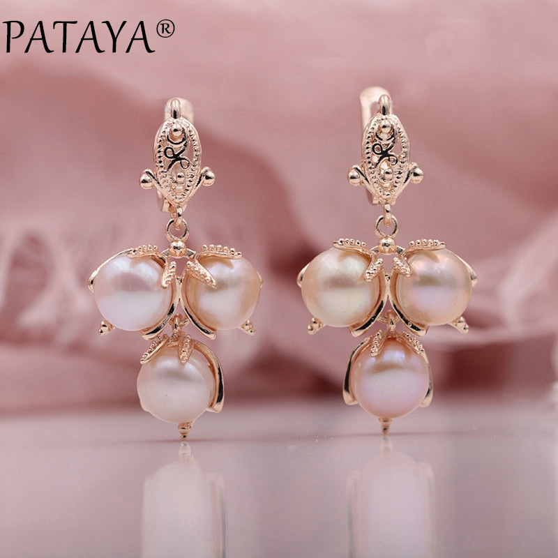 PATAYA New Multicolor Natural Freshwater Irregular Pearls 585 Rose Gold Long Dangle Earrings Women Wedding Party Trendy Jewelry yoursfs dangle earrings with long chain austria crystal jewelry gift 18k rose gold plated