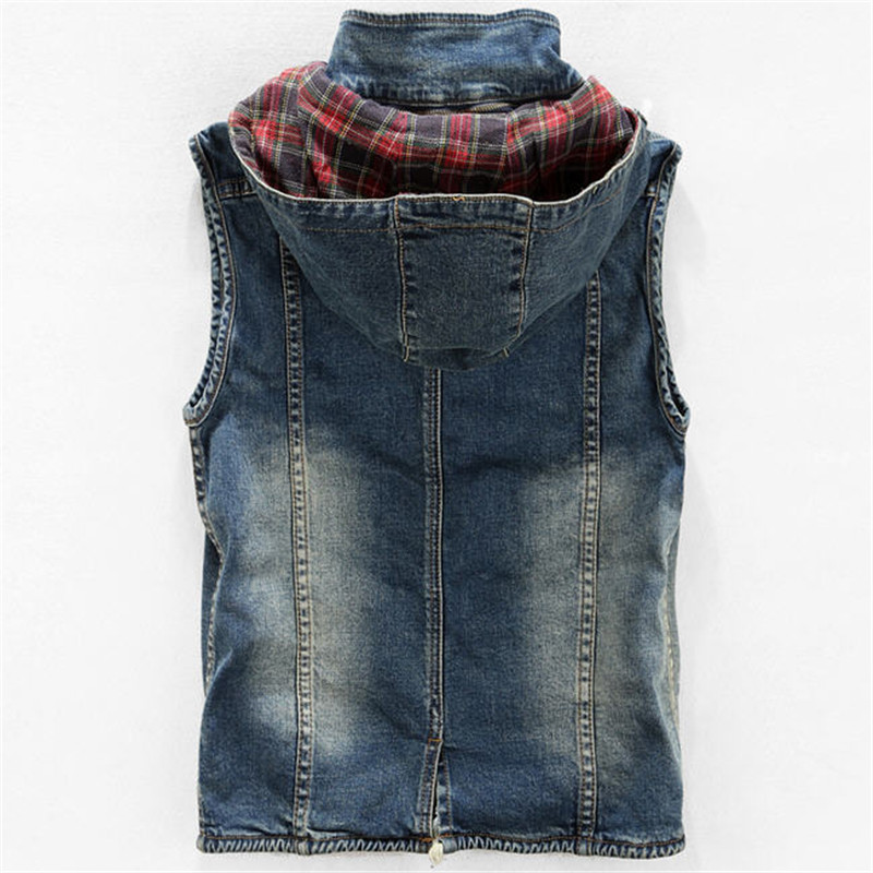 Men's Hooded Denim Vest Man Plus Size Casual Jeans Vest Nya - Herrkläder - Foto 2