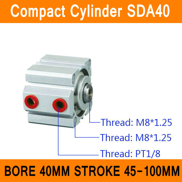 SDA40 Cylinder Compact SDA Series Bore 40mm Stroke 45-100mm Compact Air Cylinders Dual Action Air Pneumatic Cylinders ISO sda100 30 free shipping 100mm bore 30mm stroke compact air cylinders sda100x30 dual action air pneumatic cylinder