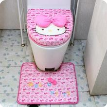 KAWAII Hello Kitty Pink Bathroom Sanitary Sitting Toilet Seat Cushion Mat + Floor Mat PAD + Closestool Cotton Cover 3PCS/ SET
