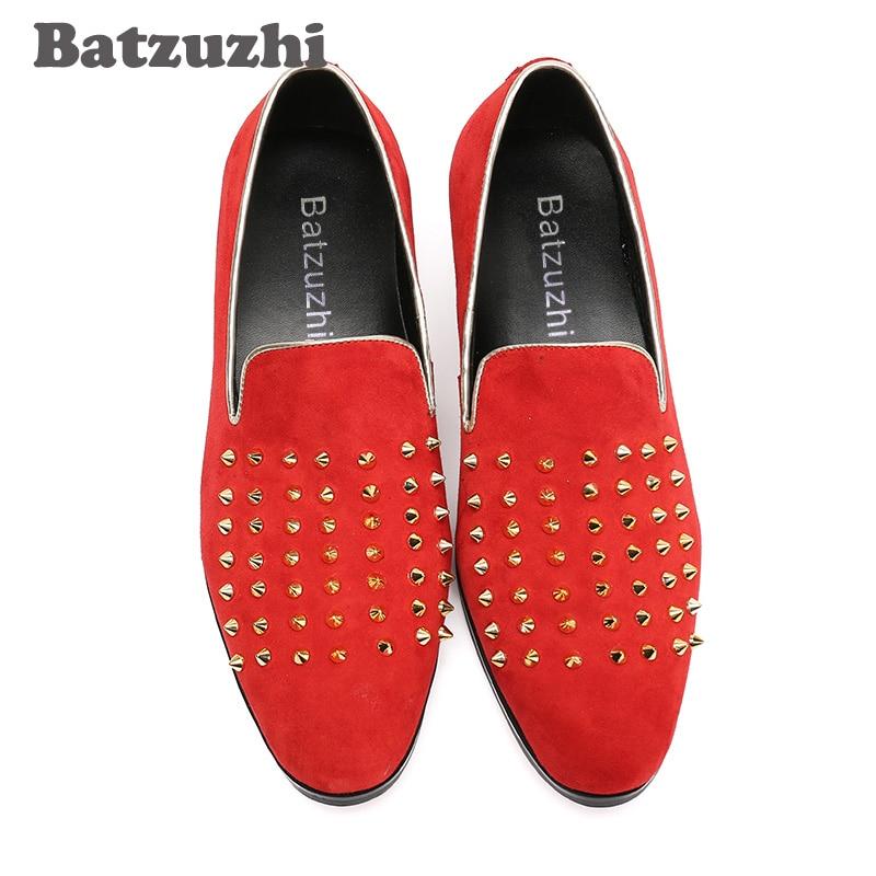 Red Zapatos Con Suede Causl Remaches Moda Pisos Roafers Rojo Hombres Batzuzhi Estilo Italiano Cuero vICqPx41